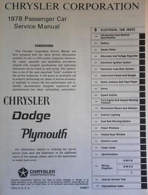 1978 Plymouth & Dodge & Chrysler Service Manual original