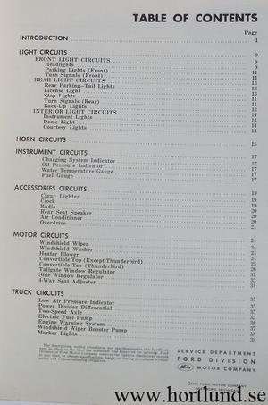1963 Ford Service Handbook Body and Chassis Electrical Circuits