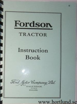 1936 Fordson model N Instruction Book