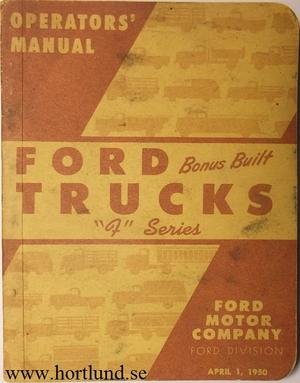 1950 Ford Truck F Series Operators' Manual