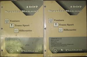 1997 Chevrolet Venture + Pontiac Trans Sport + Oldsmobile Silhouette Service Manual Set om 2 Böcker