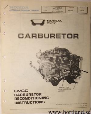 1975-1979 Honda Civic CVCC och Accord Carburetor Manual