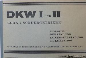1930 DKW Spezial 200 Luxus-Special 200 Luxus 300 Reservdelskatalog växellåda