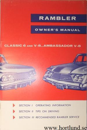 1961 Rambler Classic och Ambassador Owner's Manual