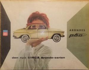 1959 Simca Aronde P60 broschyr svensk
