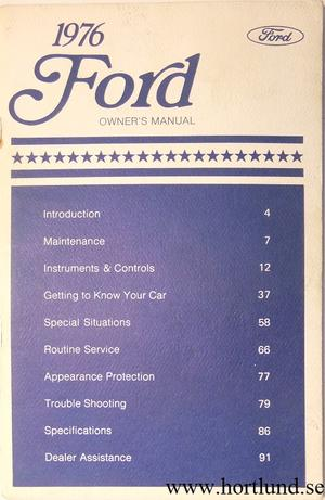 1976 Ford full size Owners Manual