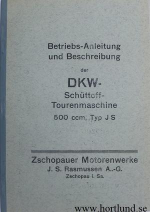 1929 - 1930 DKW Schüttoff 500 Typ JS Instruktionsbok