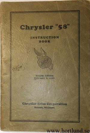 1926 Chrysler 58 Instruction Book original