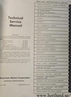 1971 AMC Hornet, Matador, Gremlin, Javelin, Ambassador Technical Service Manual original