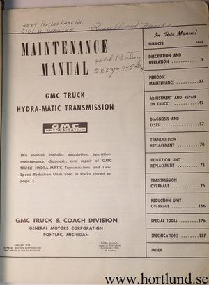1954 GMC Truck Hydra-Matic Transmission Operation and Maintenance