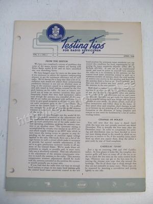 1948 Delco Radio Testing tips for radio servicemen April 1948