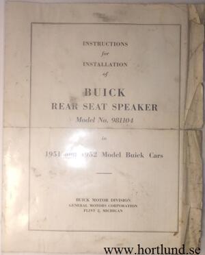 1951-52 Buick Instruktion för Rear Seat Speaker