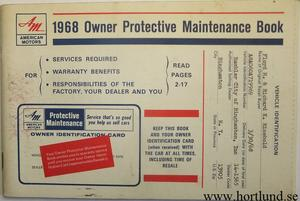 1968 AMC Owner Protective Maintenance Program