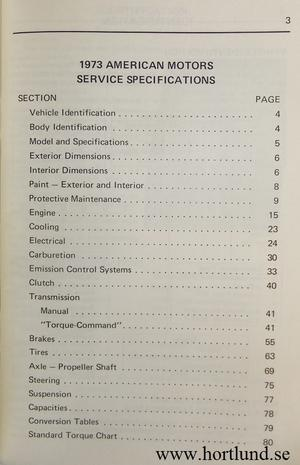 1973 AMC Service Specifications
