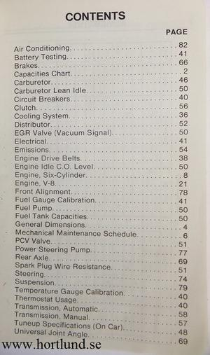 1974 AMC Service Specifications
