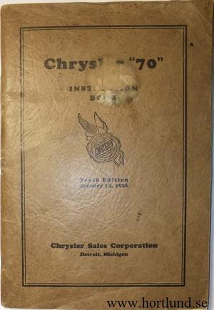 1926 Chrysler 70 Instruction Book original