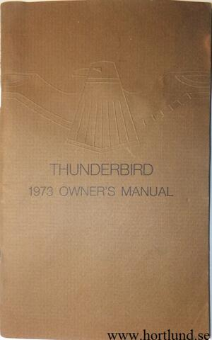 1973 Ford Thunderbird Owners Manual