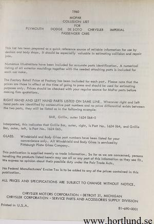 1960 MoPar Collision Parts List