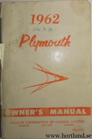 1962 Plymouth Owner's Manual