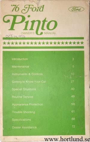 1976 Ford Pinto Owners Manual