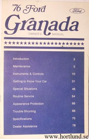 1976 Ford Granada Owners Manual