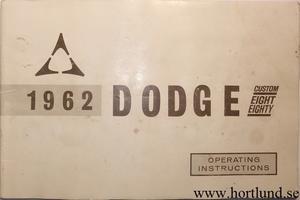 1962 Dodge 880 Instruktionsbok