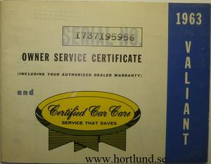 1963 Plymouth Valiant Owner Service Certificate