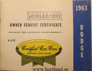 1963 Dodge Owner Service Certificate