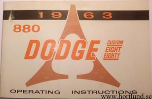 1963 Dodge 880 Operating Instructions