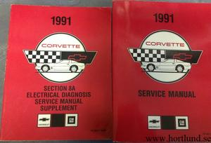 1991 Chevrolet Corvette Service Manual + Electrical Diagnosis Service Manual Supplement set om 2 böcker