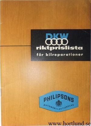 1961 DKW riktprislista för bilreparationer