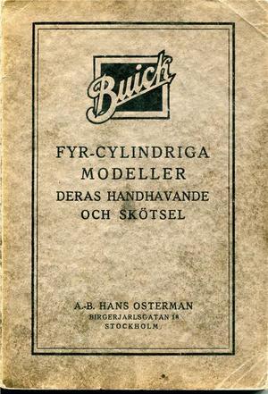 1923 Buick Fyr-cylindriga modeller och dess handhavande