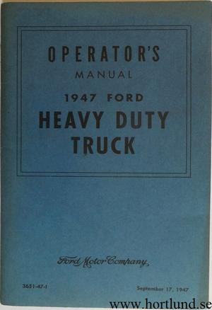 1947 Ford Heavy Duty Truck Operator's Manual original