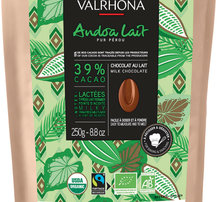 Valrhona Ljus choklad Andoa Lactee 39%, 250 g - Ekologisk & Fairtrade certifierad