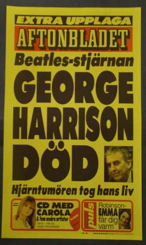 LÖPSEDEL AFTONBLADET (GEORGE HARRISON DÖD)