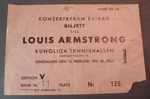 LOUIS ARMSTRONG Biljett KUNGL. TENNISHALLEN 1961
