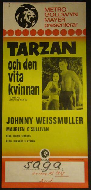 TARZAN OCH VITA KVINNAN (JOHNNY WEISSMULLER, MAUREEN O´SULLIVAN)