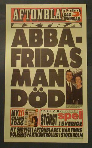 LÖPSEDEL AFTONBLADET (ABBA FRIDAS MAN DÖD)