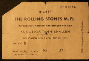 ROLLING STONES - Konsertbiljett Kungl. Tennishallen Stockholm 1965 BEIGE
