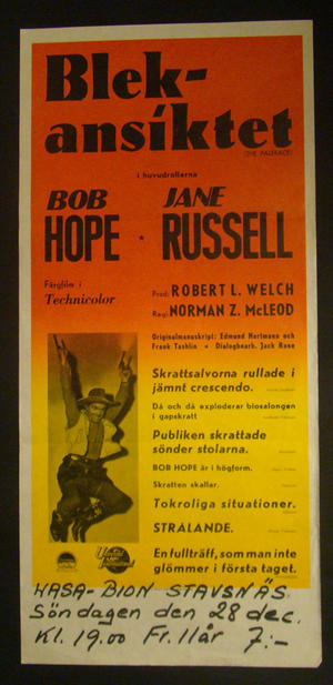 BLEKANSIKTET (BOB HOPE, JANE RUSSELL)
