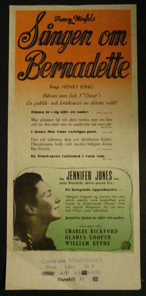 SÅNGEN OM BERNADETTE  (JENNIFER JONES, CHARLES BICKFORD, GLADYS COOPER )
