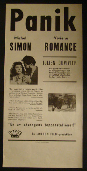 PANIQUE (MICHEL SIMON, VIVIANE ROMANCE, JULIEN DUVIVIER)