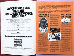 FATS DOMINO - SIGNERAT turnéprogram ca 1980