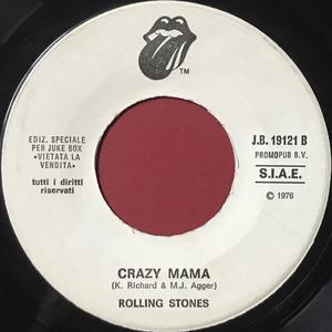 ROLLING STONES - Fool to cry / Crazy mama Italien Jukebox PROMO 45  1976