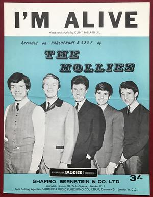 HOLLIES - I´m alive US Sheet music 1965