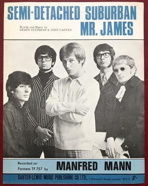 MANFRED MANN - Semi-detached suburban Mr. James Sheet music 1966
