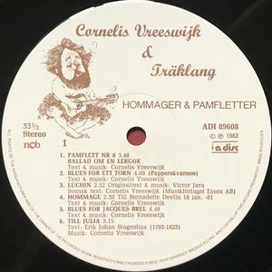 CORNELIS VREESWIJK & TRÄKLANG - Hommager & pamfletter SIGNERAD LP 1982