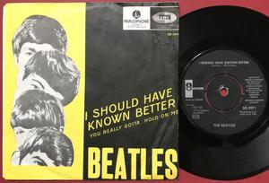 """BEATLES - I should have known better 7"""" YELLOW PS Swe 1964"""