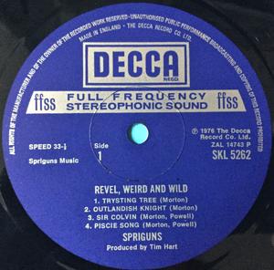 SPRIGUNS - Revel weird and wild UK-orig Decca LP 1976