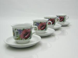 Kahvikupit ja alusvadit, 4 kpl, Valmu, ET